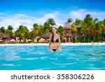 beautiful blissful woman in... | Shutterstock . vector #358306226