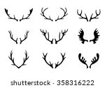 hand drawn deer antlers vectors. | Shutterstock .eps vector #358316222