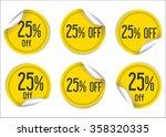 25 percent off yellow paper... | Shutterstock .eps vector #358320335