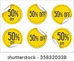 50 percent off yellow paper... | Shutterstock .eps vector #358320338
