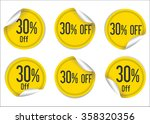 30 percent off yellow paper... | Shutterstock .eps vector #358320356