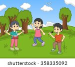 kids playing music in the park... | Shutterstock . vector #358335092