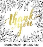 thank you golden  lettering... | Shutterstock .eps vector #358337732