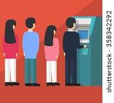people waiting in line queue to ... | Shutterstock .eps vector #358342292