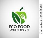 green food logo. eco food icon. ... | Shutterstock .eps vector #358353932