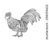 rooster. birds. black white... | Shutterstock .eps vector #358354622