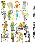 People of different professions hand-drawn - stock vector