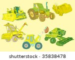 hand-drawn vector - set of various tractors - stock vector