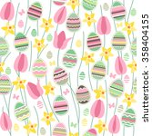 seamless pattern with easter... | Shutterstock .eps vector #358404155