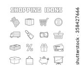 shopping icons set. thin line... | Shutterstock .eps vector #358427666