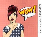 vector pop art surprised woman... | Shutterstock .eps vector #358434122