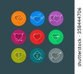 heart line icon set vector. ...