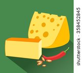 cheese with wholes.  ... | Shutterstock . vector #358452845