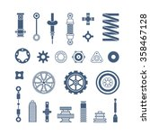 auto spare parts flat icons set ... | Shutterstock .eps vector #358467128