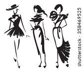 set of three models in retro... | Shutterstock .eps vector #358469525