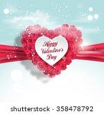 valentine heart made of roses... | Shutterstock .eps vector #358478792