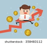 businessman riding success... | Shutterstock .eps vector #358483112