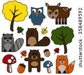 woodland creatures  | Shutterstock .eps vector #358489592