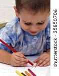 adorable little boy drawing... | Shutterstock . vector #35850706