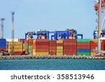 port cargo crane and container... | Shutterstock . vector #358513946