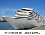 cruise tourist ship in black... | Shutterstock . vector #358518962