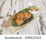 slice deep fried fish with side ... | Shutterstock . vector #358522532