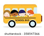 school bus filled with children ... | Shutterstock .eps vector #358547366