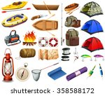 camping gears and boats... | Shutterstock .eps vector #358588172