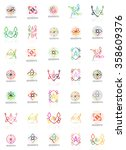 set of vector linear logotypes  ... | Shutterstock .eps vector #358609376