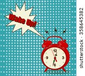 red alarm clock in pop art... | Shutterstock . vector #358645382