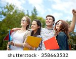 group of happy students showing ... | Shutterstock . vector #358663532