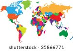 colored map of world with... | Shutterstock .eps vector #35866771