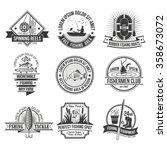 fishing black white emblems set ... | Shutterstock .eps vector #358673072