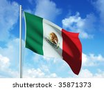 mexican flag in blue sky... | Shutterstock . vector #35871373
