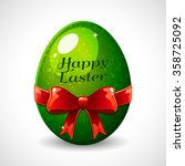 easter egg with red ribbon....   Shutterstock .eps vector #358725092