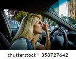 tired girl driving a car. rush...   Shutterstock . vector #358727642