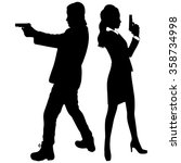 young couple with handguns | Shutterstock .eps vector #358734998
