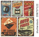 vintage car service tin signs... | Shutterstock .eps vector #358737122