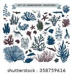 vector set of underwater sea... | Shutterstock .eps vector #358759616