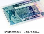 10 intis bank note. inti is the ... | Shutterstock . vector #358765862