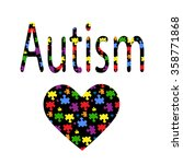 black inscription autism and a... | Shutterstock .eps vector #358771868