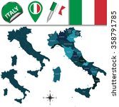vector map of italy with named... | Shutterstock .eps vector #358791785