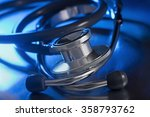 metal stethoscope on table | Shutterstock . vector #358793762