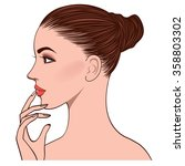 side face of beautiful young...   Shutterstock .eps vector #358803302