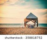 romantic dinner setting on the... | Shutterstock . vector #358818752