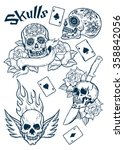 set of old school tattoo... | Shutterstock .eps vector #358842056
