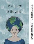 """be a citizen of the world ""  ... | Shutterstock .eps vector #358862618"