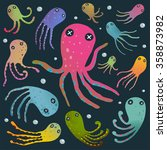 colorful octopus isolated on... | Shutterstock . vector #358873982