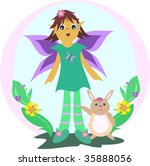 cute fairy with rabbit in a... | Shutterstock .eps vector #35888056