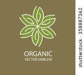 vector outline monogram  flower ... | Shutterstock .eps vector #358887362